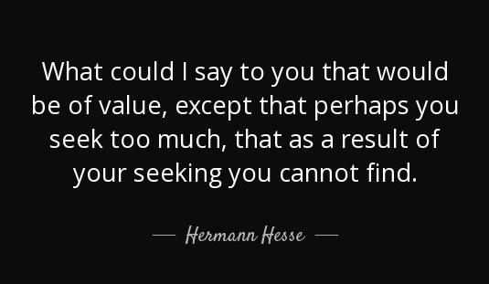 hermann hesse seek too much
