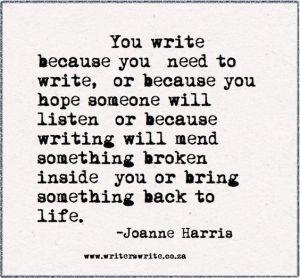 why do you write joanne harris
